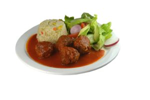 1. Albóndigas de Carne, Arroz y Ensalada