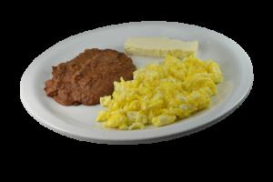 22. * Huevos Revueltos, Frijoles y Quesos